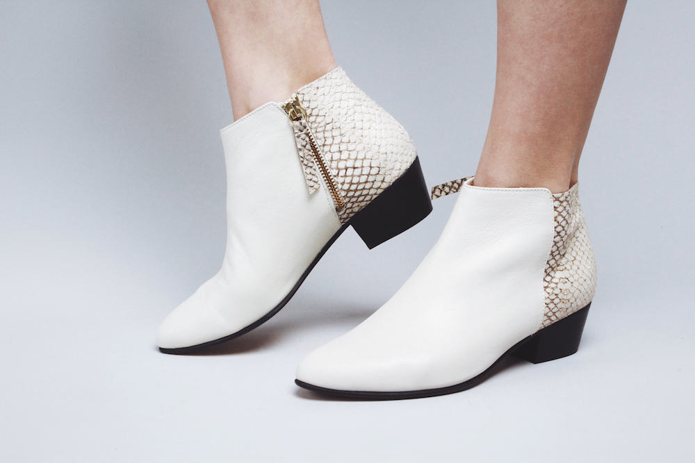 nine to five white booties fish leather mochni