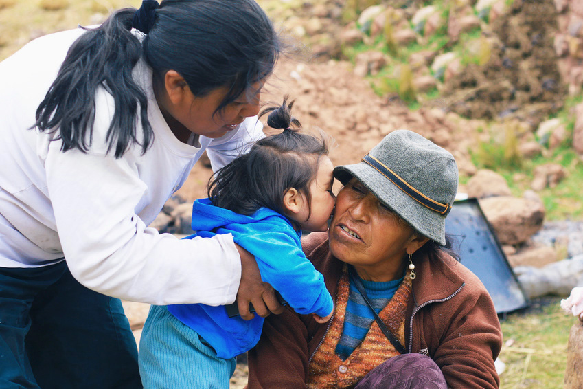 Aymara family - three generations of women