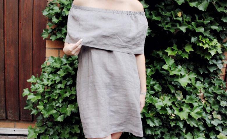 Sewing Tutorial: Linen Off Shoulder Dress