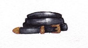 black vintage leather beld mochni drawing