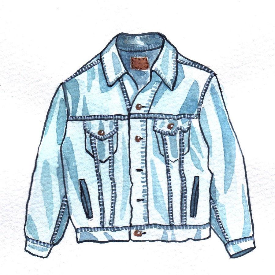 vintage denim jeans jacket mochni drawing