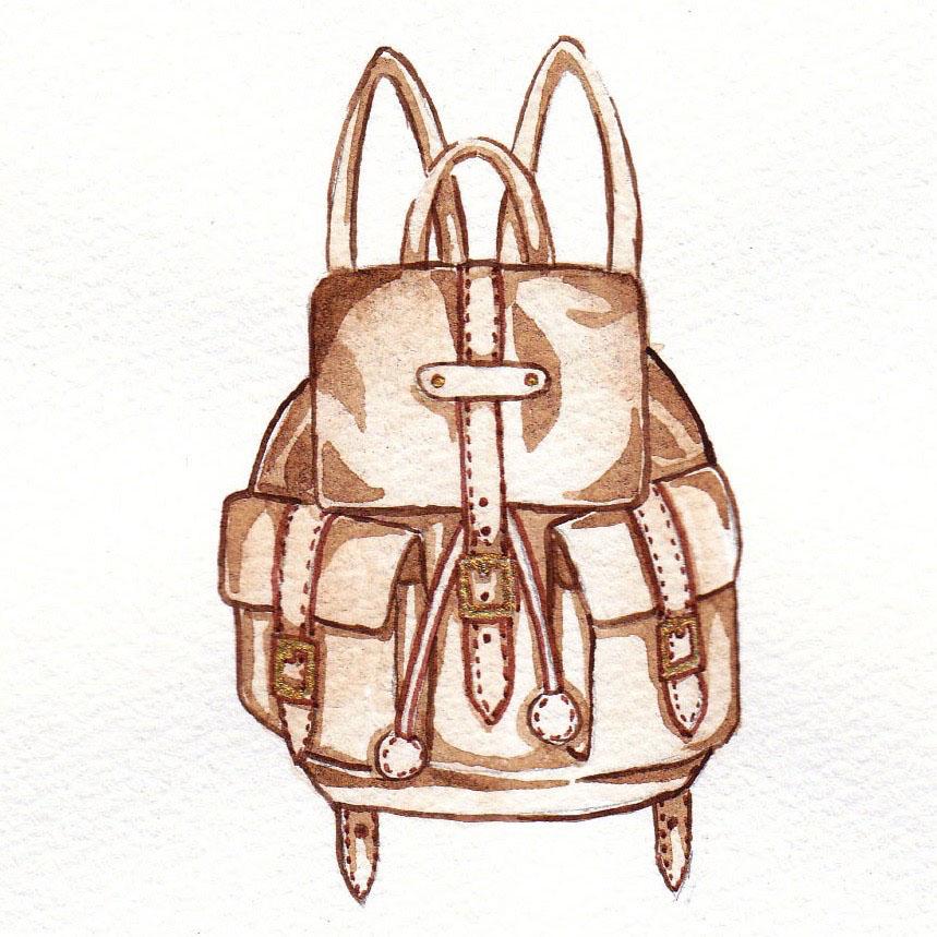 vintage leather backpack drawing mochni