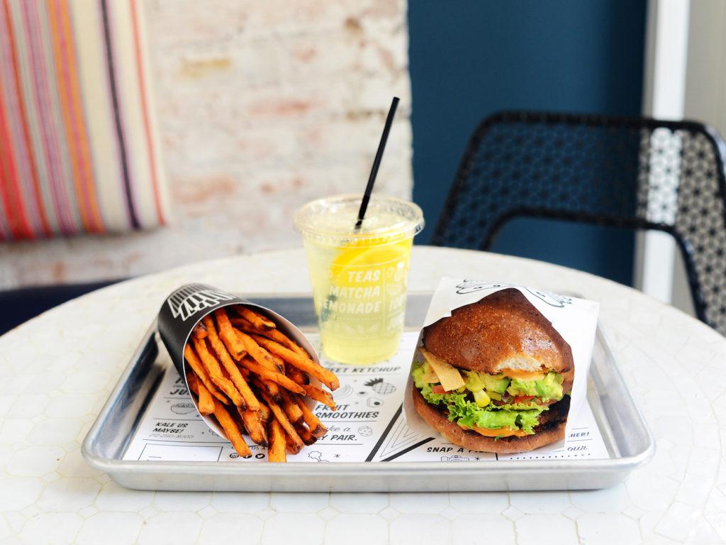 Guca Burger, Air Bakes Sweet Potato Fries, and a Seasonal Lemonade.