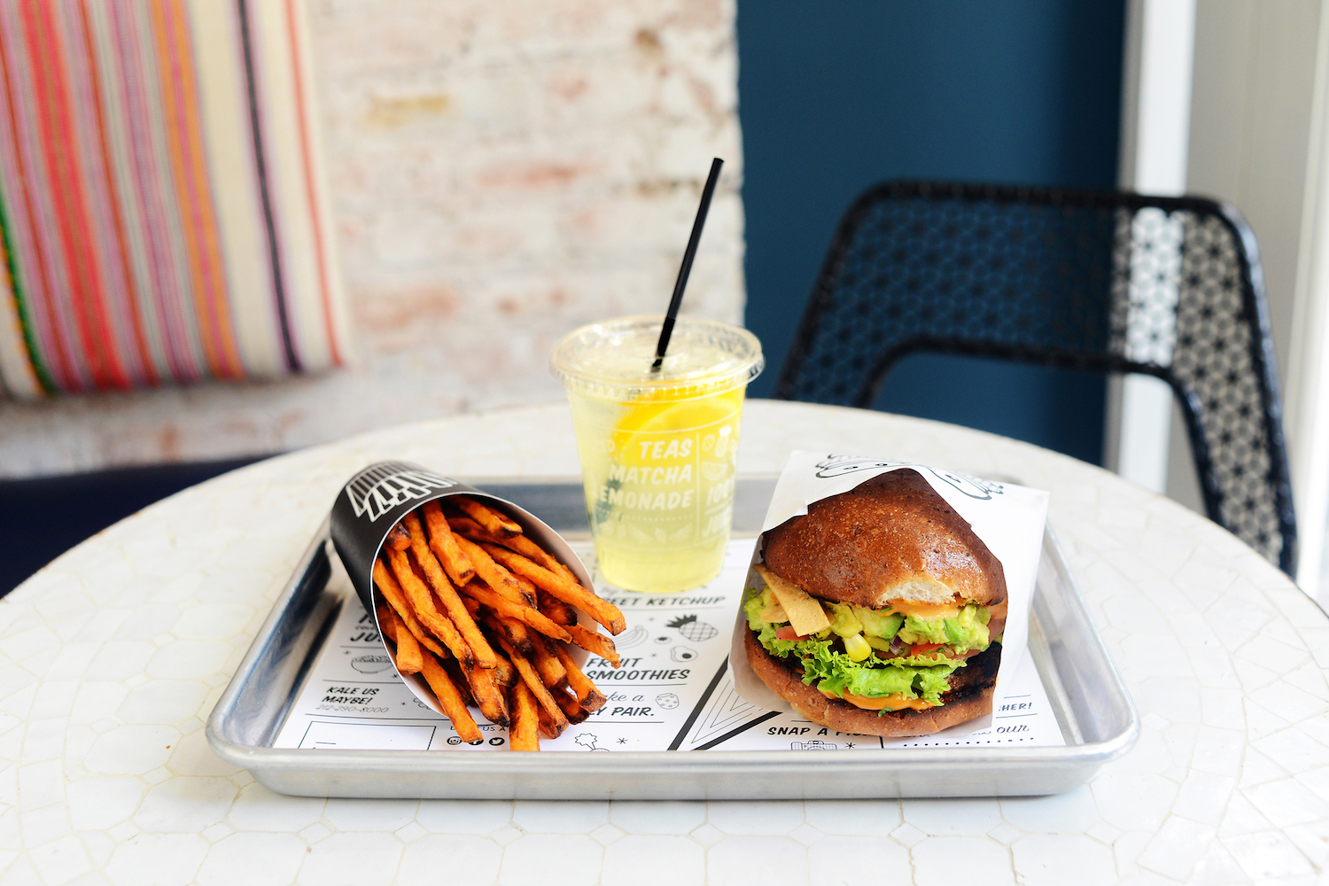 Guca Burger, Air Bakes Sweet Potato Fries, and a Seasonal Lemonade.