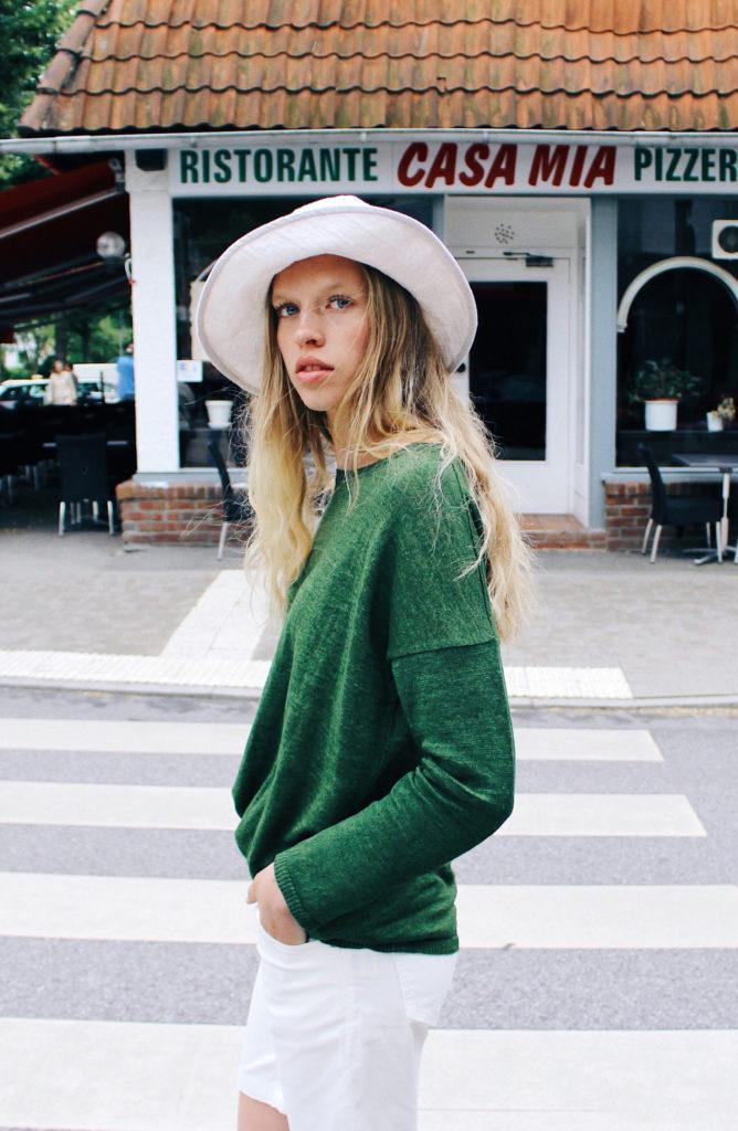 green linen sweater