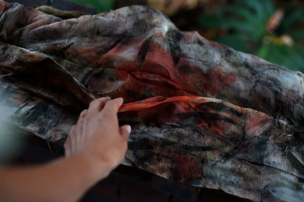 eco print dyeing with leaves