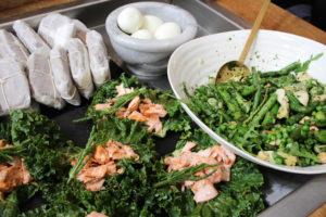 green kale salmon paleo lunch