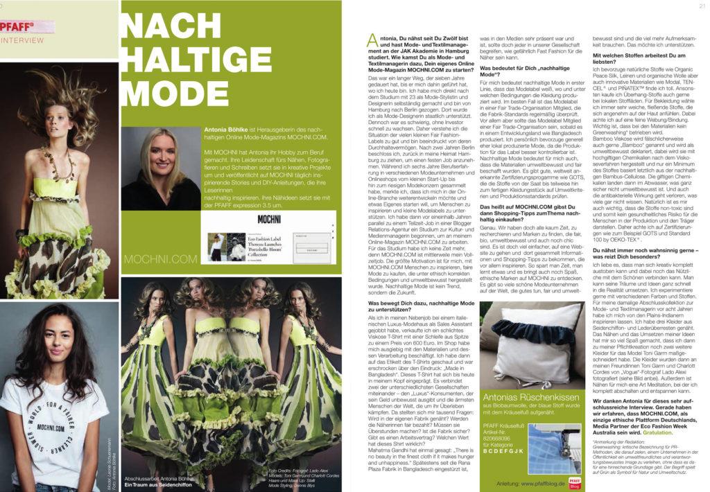 sustainable fashion pfaff interview mochni
