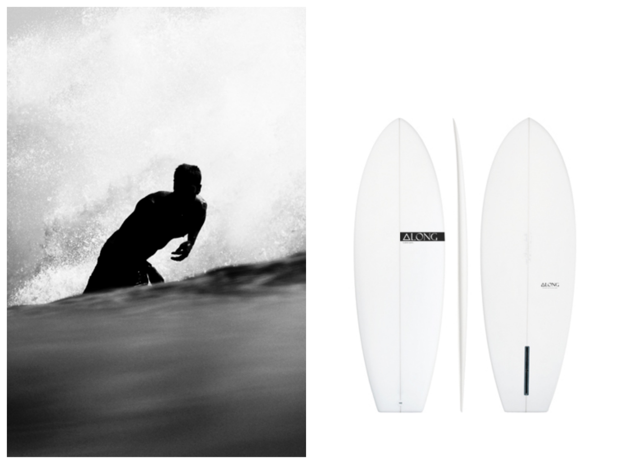 along surfboards